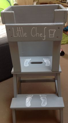 IKEA stool remodelled into toddler stool for the kitchen