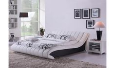 double frame leather bed TWIST white and black Berry Bella