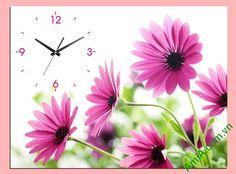 Tranh đồng hồ kiểu 1 tấm hoa tím treo nghệ thuật
