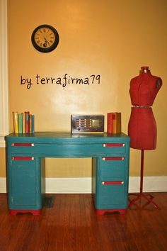 Upcylcled...Stylish Mid Century DESK, Teal with a Cherry Red POP. $289.00, via Etsy.