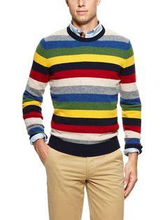 Multistripe Crewneck Sweater by Brooks Brothers on Park & Bond