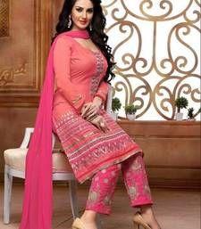 Buy Pink embroidered Cotton semi stitched salwar with dupatta cotton-salwar-kameez online