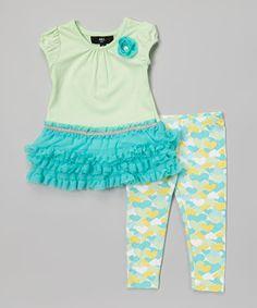 Loving this A.B.S. by Allen Schwartz Blue Ruffle Tunic & Heart Leggings - Infant & Toddler on #zulily! #zulilyfinds