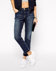 Current/Elliott | Current Elliott Stiletto Cropped Straight Leg Jeans With Raw Hem at ASOS