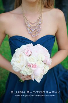 Navy blue pink wedding decor  http://www.photosbyblush.com/blog