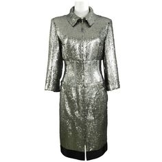 Preowned Chanel 14a Runway Silver Sequin Dress Coat (€2.505) ❤ liked on Polyvore featuring outerwear, coats, dresses, silver, chanel coat, zip coat, sequin coat, silver coat and leather-sleeve coats
