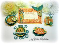 Graphic 45 Voyage Beneath the Sea Handmade Paper Embellishments and Paper Flowers for Scrapbooking Cards Mini Albums Tags and Papercrafts by mydivineinspiration on Etsy