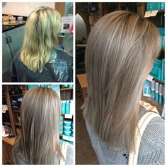 From Yellow blonde to a softer natural ashy light brown with soft white/grey highlights! Great for softening in natural grey hair!