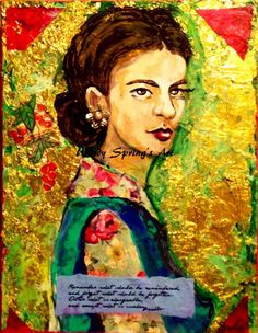 A personal favorite from my Etsy shop https://www.etsy.com/listing/175600537/frida-kahlo-vintage-flowers-by-spring
