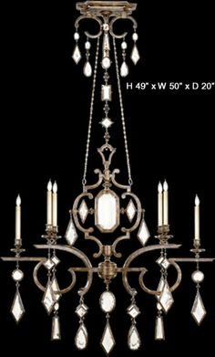 """708940-3 Venerable bronze patina with clear crystal gems. H. 49"""" x W. 50"""" x D. 20"""" Chain/Rod Length: 2 ft 6 x 60 watt Candelabra base B-10 bulbs Made in USA. Most Fine Art Lamps products can be customized and may be converted to 220v.  Fine Art Lamps Encased Gems Historic Crystal Collection with Choice of Colored Crystal Gems - Designer Discounts - Call Brand Lighting Sales 800-585-1285 to ask for your best price!"""