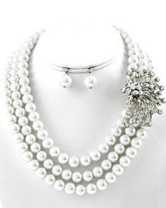 Multi Row Necklace & Earring Set / Color: Silver Tone with White Synthetic Pearl with Clear Rhinestone Arras Creations http://www.amazon.com/dp/B00GR9OAHC/ref=cm_sw_r_pi_dp_ck4tub1TG0699