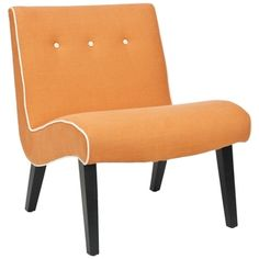 @Overstock.com - This contemporary orange occasional chair from Noho speaks for itself. Its curvy art deco design and orange linen upholstery crisply accented with white piping and buttons make it the perfect addition to a cozy bedroom or sitting area.http://www.overstock.com/Home-Garden/Noho-Orange-Lounge-Chair/6002285/product.html?CID=214117 $264.99