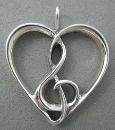 heart with treble clef sterling silver jewelry © Nancy Denmark Music Jewelry, Music Tattoos, Treble Clef, Music Love, Music Heart, Flute, Sterling Silver Jewelry, Music Instruments, Bling