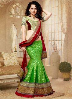 Kangna Ranaut In Green Art Silk Lehenga Choli Lehenga Choli Online, Bridal Lehenga Choli, Silk Lehenga, Lehga Choli, Heavy Lehenga, Lehenga Blouse, Saree Dress, Choli Designs, Lehenga Designs
