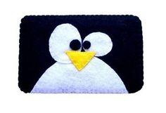 Cute felt penguin cell phone case.