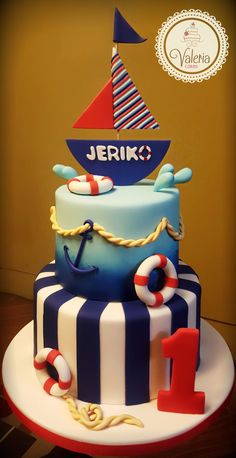 Baby nautical cake / Torta marinero bebé ❤️⛵ Nautical Birthday Cakes, Nautical Cake, Baby Birthday Cakes, Nautical Party, Baby First Birthday, Boy Birthday Parties, Cake Baby, Baby Shower Cakes For Boys, Baby Boy Shower