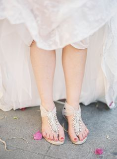 Wedding Sandals by Sergio Zelcer. See the wedding here: http://www.StyleMePretty.com/2014/04/10/huron-substation-wedding-full-of-color/ Photography: JenHuangPhotography.com on #smp