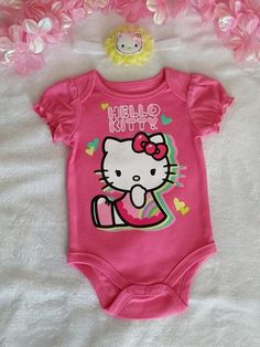 3mo Hello Kitty Onsie w/ Matching Headband  Headband measures 14in unstretched  Can buy Socks to match it also.