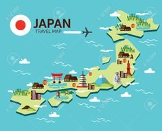 Travel Map Clipart Japan Cliparts Stock Vector And Royalty Free Landmark Flat Design Elements Icons Illustration