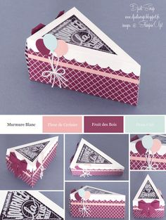 """Djudi'Scrap: Box Treats Cake Part """"Thinlits Small hand for you"""" and new """"Weekly Deals"""" Cake Slice Boxes, Scrapbook Box, Stampin Up Catalog, Paper Cake, Glitter Cards, Craft Bags, Pretty Packaging, Diy Box, Diy Birthday"""
