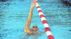 Frederick Bousquet à la piscine olympique de Dijon en préparation aux championnats du monde de natation en juillet 2013 © Damien Rabeisen