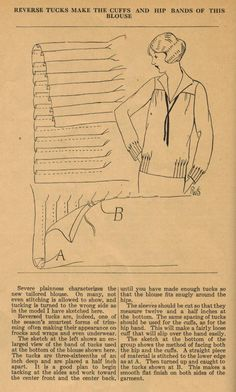 The Midvale Cottage Post: Home Sewing Tips from the - Reverse Tucks: The Smartest Form of Trimming Sewing Hacks, Sewing Tutorials, Sewing Crafts, Sewing Projects, Sewing Tips, Vintage Dress Patterns, Clothing Patterns, Vintage Dresses, Style Année 20