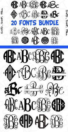 Bundle Cricut Font Bundle SVG Cut Files Monogram Svg