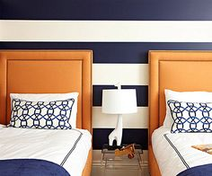 From Navy to Aqua: Summer Decor in Shades of Blue: vertical or horizontal stripes too obvious of a nautical theme?  Ben doesnt like stripes