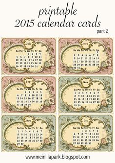 FREE printable 2015 calendar mini cards ^^
