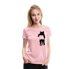 Geschenke Shop   Katze in Tasche schwarz - Frauen Premium T-Shirt Shirt Diy, Shirt Designs, Pullover Mode, Trends, Viscose Fabric, Sweater Fashion, Custom Clothes, Funny Shirts, Trendy Fashion