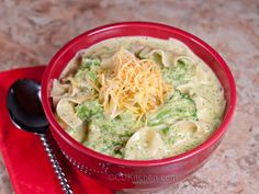 Slow Cooker Broccoli Cheese Noodle Soup With Frozen Broccoli, Noodles, Finely Chopped Onion, Flour, Processed Cheese, Milk