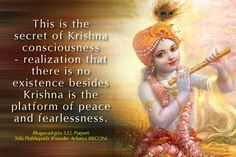 Bhagavad-gita : The steadily devoted soul attains unadulterated peace because he offers the result of all activities to Me; whereas a person who is not in union with the Divine, who is greedy for the fruits of his labor, becomes entangled. Krishna Leela, Krishna Radha, Spiritual Love, Spiritual Quotes, Srila Prabhupada, Gita Quotes, Krishna Quotes, Spirit Science, Lord Vishnu
