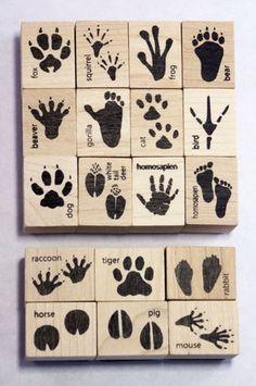 Animal Track & Footprint Ink Stamp Set | Ink Stamps Of Animals' Tracks For Crafts