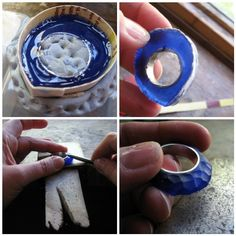 Blue Carved Ring WIP by Quercus Silver, via Flickr ... from cast to burnishing.