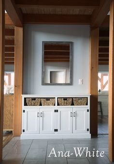 Entryway Console with Open Shelves - Double Width | Ana White