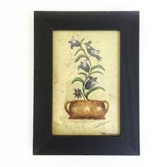 """Framed Bird on a Vine 12.00  This is a wood framed print of a pot with a vine growing out of it and flowers and a bird.  Very sweet print for a small space.  In shades of cream, gold, charcoal gray, green.  Print measures:  7.5"""" high x 5.5"""" wide"""