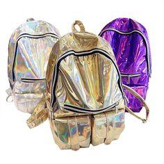 Designer senhoras mochilas Mulheres Rainbow Colorido Prata Metálica holográfica A Laser backpack school bolsas para adolescentes meninas