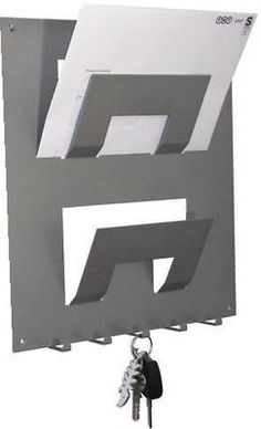 Letter rack with key holder Silver from The Metal House