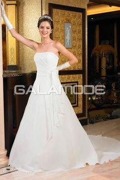 galamode.fr - Robe de Mariée Elégant Satin Sans Bretelles Sans Manches