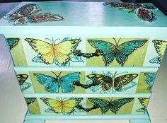 Serviette Decoupaged Jewellery Box.. Butterflies.. Instagram:  shabby rococo Jewellery Box, Jewelry, Rococo, Butterflies, Decoupage, Shabby, Instagram, Rage, Jewlery
