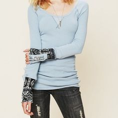 We The Free Hippie Cuff Thermal Free people long sleeved thermal with embellishments on the sleeves. Has been worn but still in great condition. Free People Tops Tees - Long Sleeve