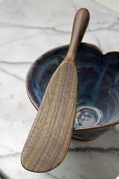 Right handed handmade wooden spurtle kitchen utensil wooden spatula carved from Walnut wood. This spoon is on sale for 15% off with coupon code