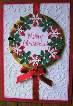 Embossed wreath Christmas card