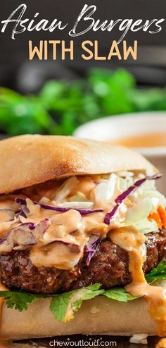 These Asian Burgers with Sriracha Mayo are incredibly delicious with crispy slaw and hearty buns or Ciabatta rolls. A great option if you're short on time and want something delicious! #asianburgerswithslaw #asianburgers #asianslawforburgers #asianslawrecipeforburgers Meat Recipes, Slow Cooker Recipes, Indian Food Recipes, Asian Recipes, Real Food Recipes, Cooking Recipes, Healthy Recipes, School Lunch Recipes, Sausage Sandwiches
