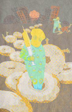 Halloween illustration: Lemon doughnut guerrilla  By Harumo Sato