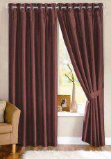 Java Faux Silk Chocolate Eyelet Curtains