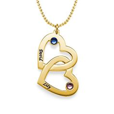 Gold-Plated Heart in Heart Necklace with Birthstones | MyNameNecklace