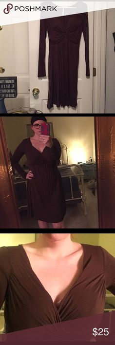 Brown long sleeve dress sexy and flattering! Don't laugh at my poshing presentation haha but this dress looks so good on! So sexy and comfy! Worn few times EUC I always struggled with shoes Bc I usually only have a few different colors. Found teal flats I loved with it! Dresses Long Sleeve