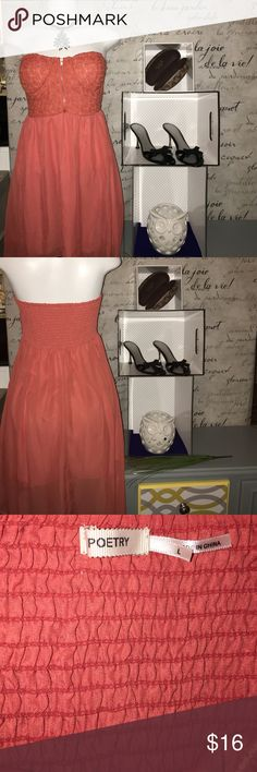 Coral hi low sheer dress with mini lining Says it's a size large but I would say it is bordering on an extra large.  Still has a lot of life left in it and it looks great! I accept reasonable offers and I offer a bundle discount. Let me know how I can help you get this beautiful dress into your personal closet. 😊✨ Poetry Dresses High Low