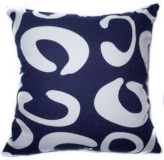 "EA29 -Navy Blue and White Line Art Circle Curve Cushion Covers 18""x18""(45cm X 45cm) / Linen Sofa Pillow Cases  $8.49 ea +$2 shipping"
